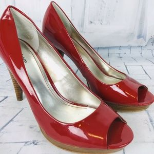 "Style & Co ""Celine"" Red Vegen Leather Heels 9.5"